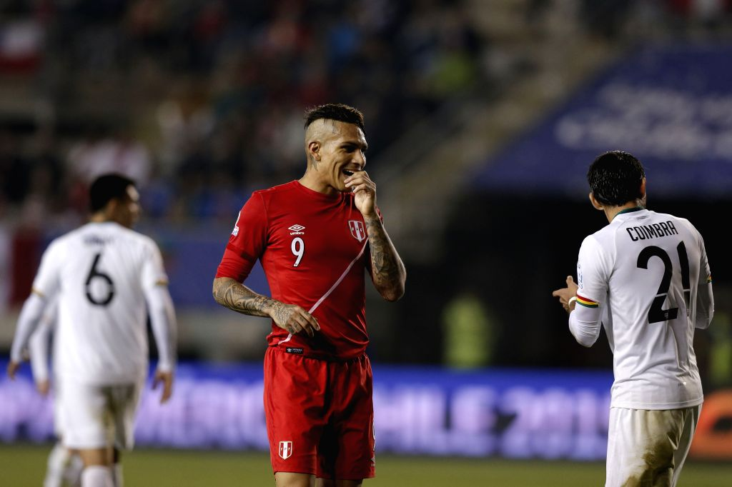 Paolo Guerrero of Peru reacts during the quarterfinal match against Bolivia at 2015 Copa America Chile in Temuco, Chile, on June 25, 2015. Peru beat Bolivia 3-1. ...