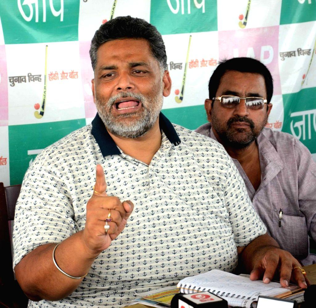 Pappu Yadav addresses a press conference in Patna, on June 1, 2017. - Pappu Yadav