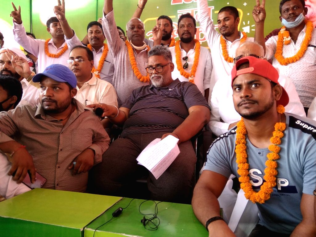 Pappu Yadav with supporters in Patna. - Pappu Yadav