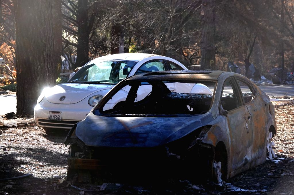 PARADISE, Dec. 7, 2018 - A destroyed car is seen in the site where the wildfire engulfed in Paradise of Butte County, California, the United States on Dec. 6, 2018.