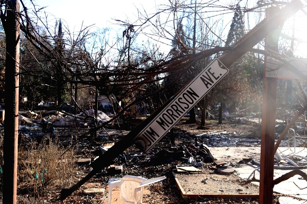 PARADISE, Dec. 7, 2018 - Photo taken on Dec. 6, 2018 shows the wreckage in the site where the wildfire engulfed in Paradise of Butte County, California, the United States.