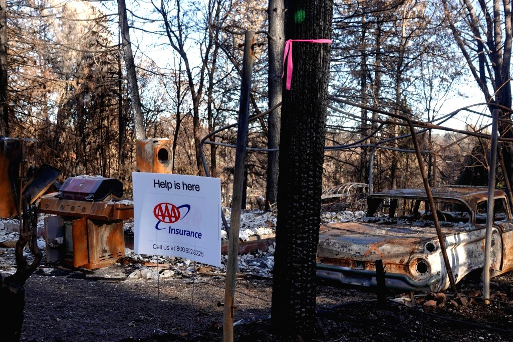 PARADISE, Dec. 8, 2018 - Photo taken on Dec. 7, 2018 shows the wreckage in the site where the wildfire engulfed in Paradise of Butte County, California, the United States.