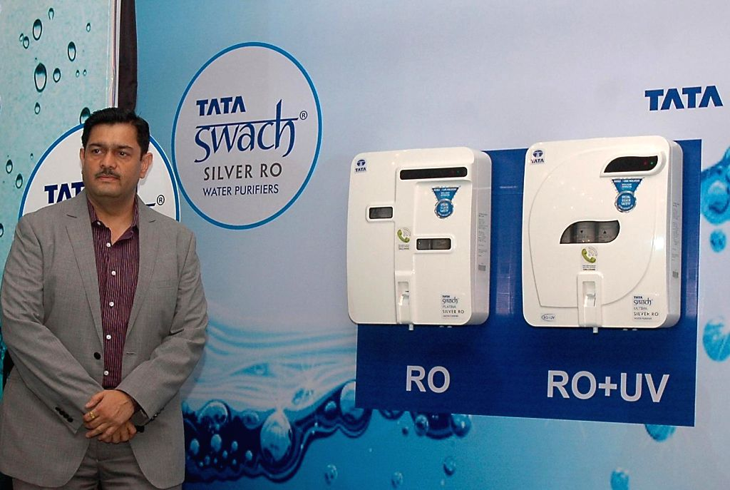 Parag Gadre, Head-Water Purifier Business--Tata Swach during launch of a water purifier in Bangalore on Jan.28, 2014. (Photo: IANS)