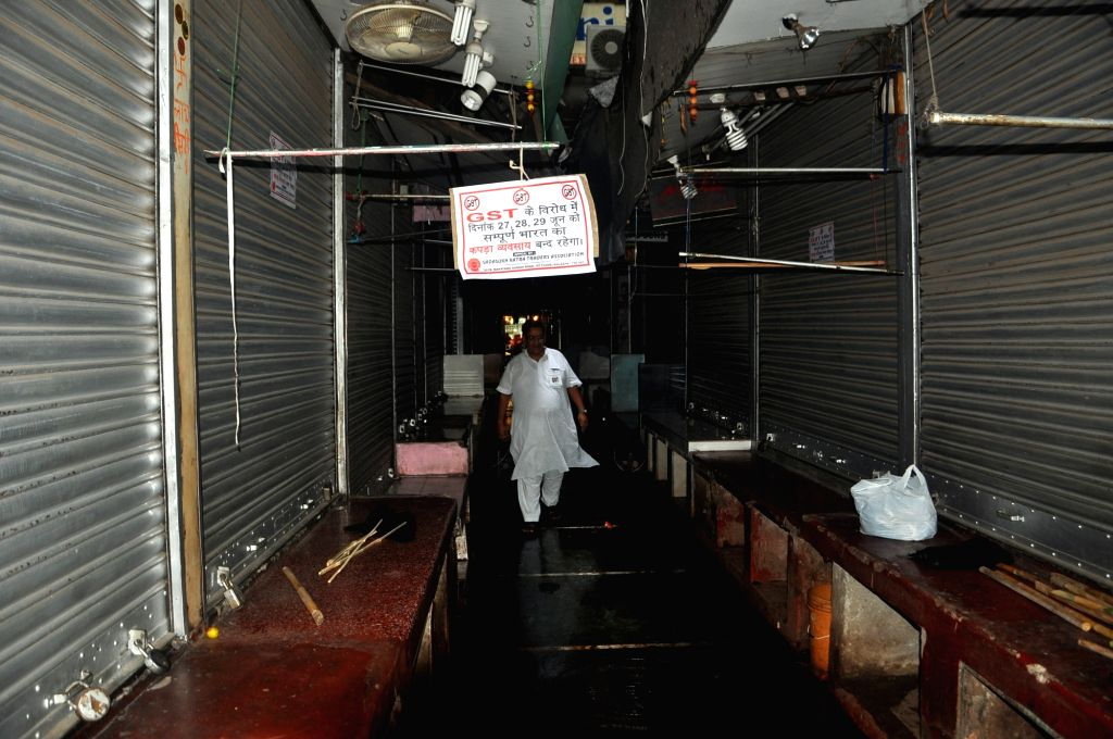 Parakh Kothi Traders Association observe a bandh by closing their shops in protest against the implementation of GST in Kolkata on June 27, 2017.