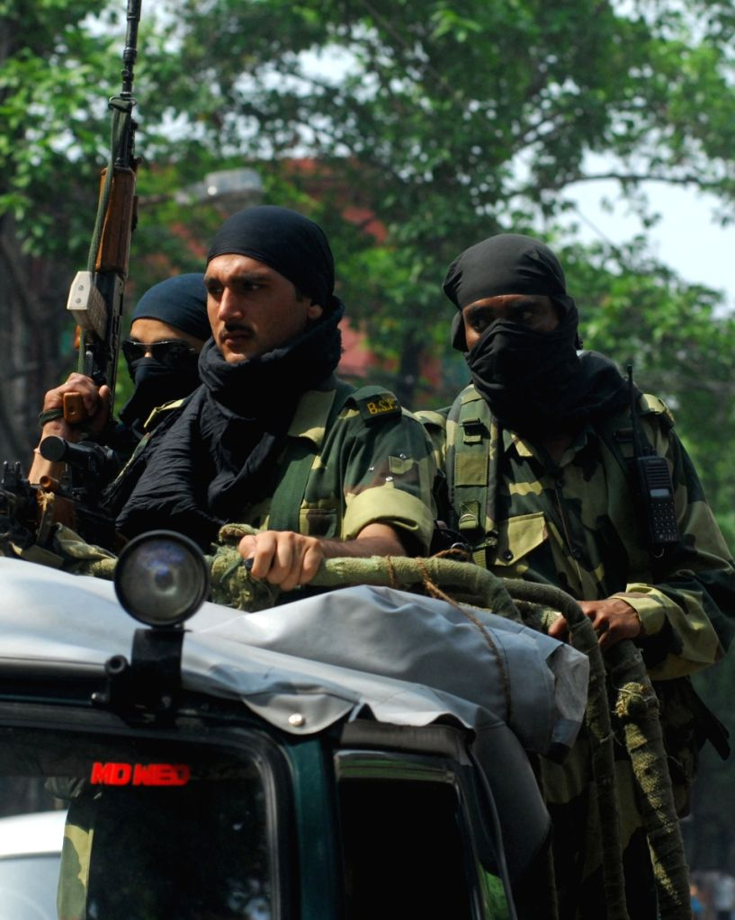Paramilitary Force petroling the streets of Kolkata on the Parliamentary Election day on 13th May 2009.