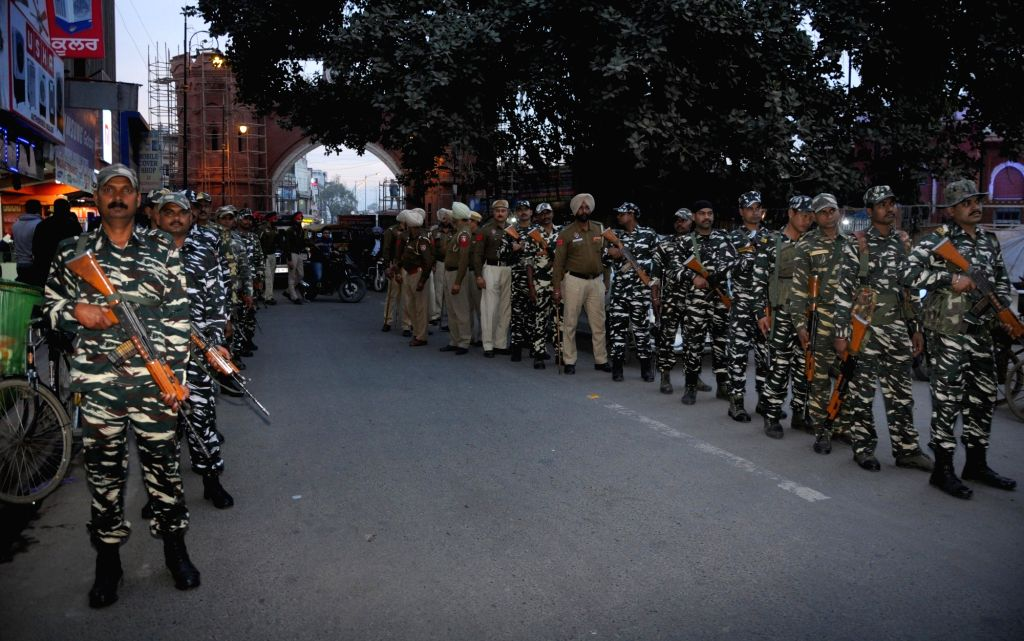 Paramilitary Forces and Punjab police conduct flag march ahead of 2019 Lok Sabha elections, in Amritsar on March 16, 2019.