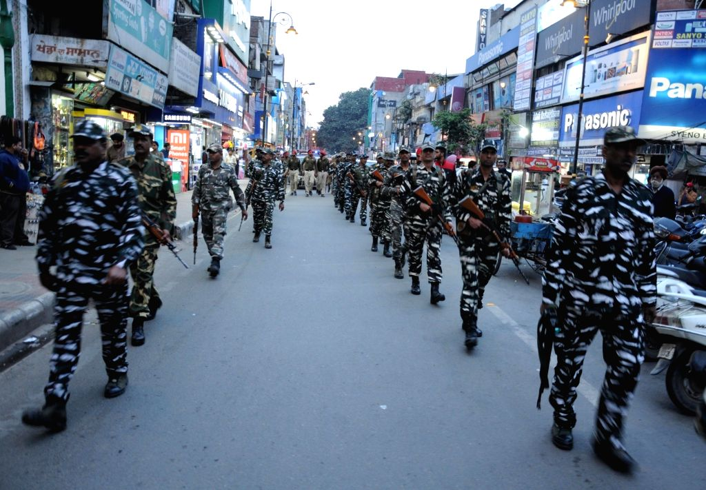 Paramilitary Forces conduct flag march ahead of 2019 Lok Sabha elections, in Amritsar on March 16, 2019.