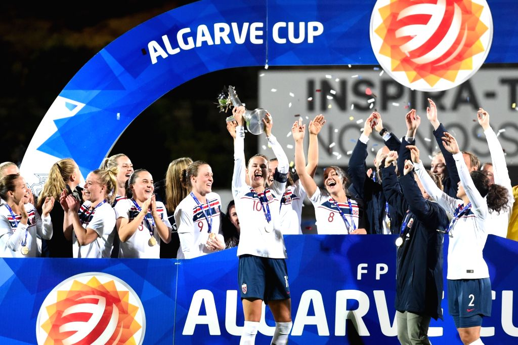 PARCHAL, March 7, 2019 - Players of Norway celebrate during the awarding ceremony after the first-place final between Norway and Poland at the 2019 Algarve Cup women's soccer invitational tournament ...
