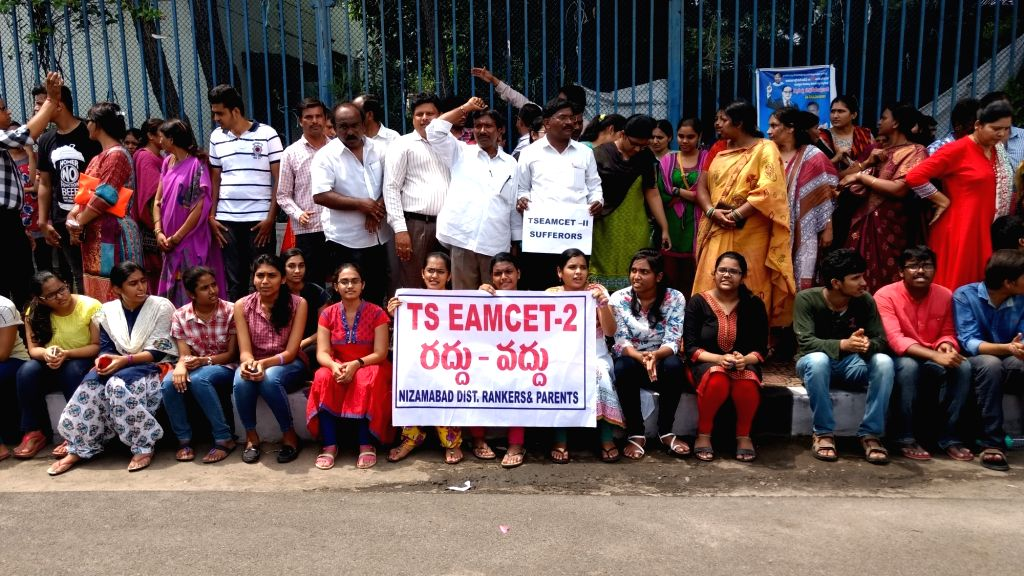 Parents and students stage a demonstration outside the Telangana Secretariat over the cancellation of Engineering, Agriculture and Medical Common Entrance Test (EAMCET-II) exams in ...