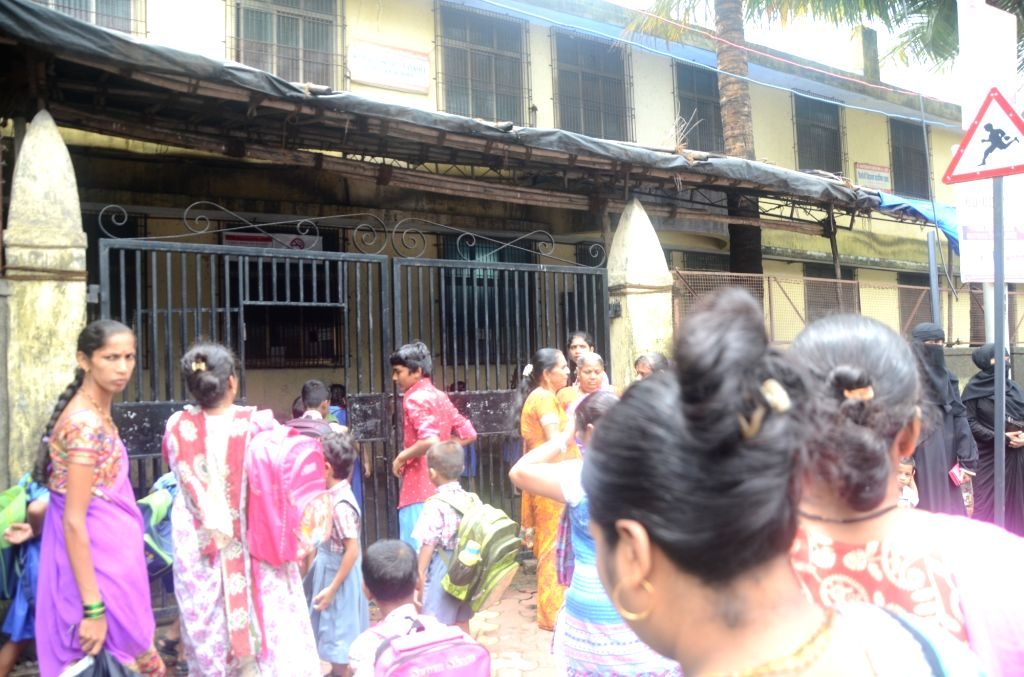 Parents protest at a school where 5 students were punished and their hair was cut in Mumbai on July 1, 2017.