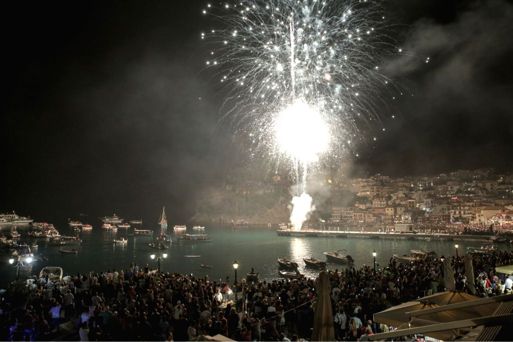 PARGA, Aug. 16, 2017 - Fireworks are seen during the celebration of the Virgin Mary day in the center of Parga, Greece, on Aug. 15, 2017. About 60,000 tourists and locals participated in the ...