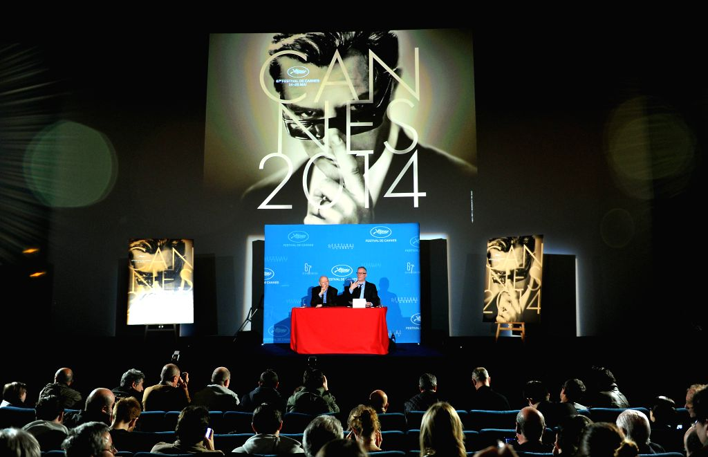Gilles Jacob (L), president of the Cannes Film Festival, and Thierry Fremaux, general delegate of the Cannes Festival, attend a press conference to announce the ...