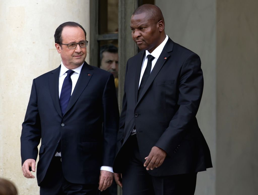 PARIS, April 20, 2016 - French President Francois Hollande (L) meets with visiting Central African Republic's President Faustin-Archange Touadera at the Elysee Palace, in Paris, France, April 20, ...