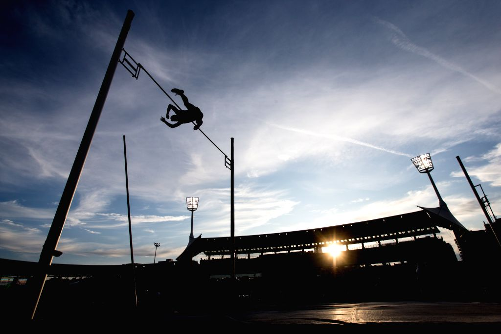 PARIS, Aug. 25, 2019 - An athlete competes during the men's pole vault final at the IAAF Diamond League in Paris, France, on Aug. 24, 2019.