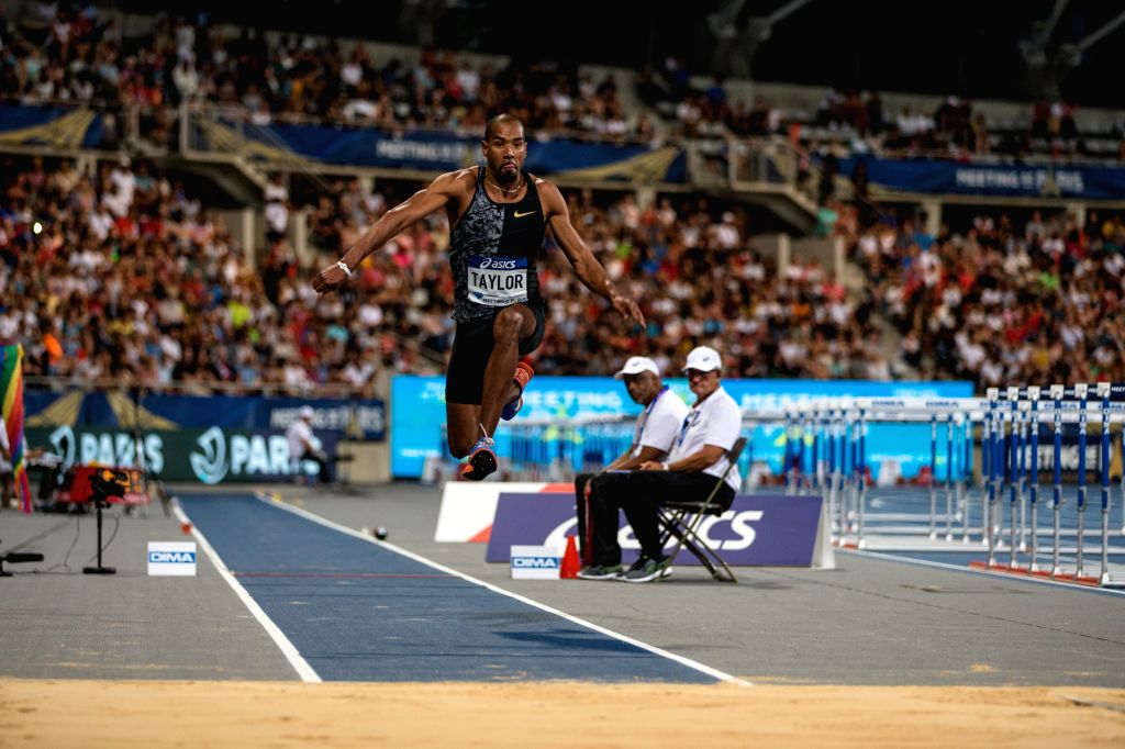 PARIS, Aug. 25, 2019 - Christian Taylor of the United States competes during the men's triple jump final at the IAAF Diamond League in Paris, France, on Aug. 24, 2019.