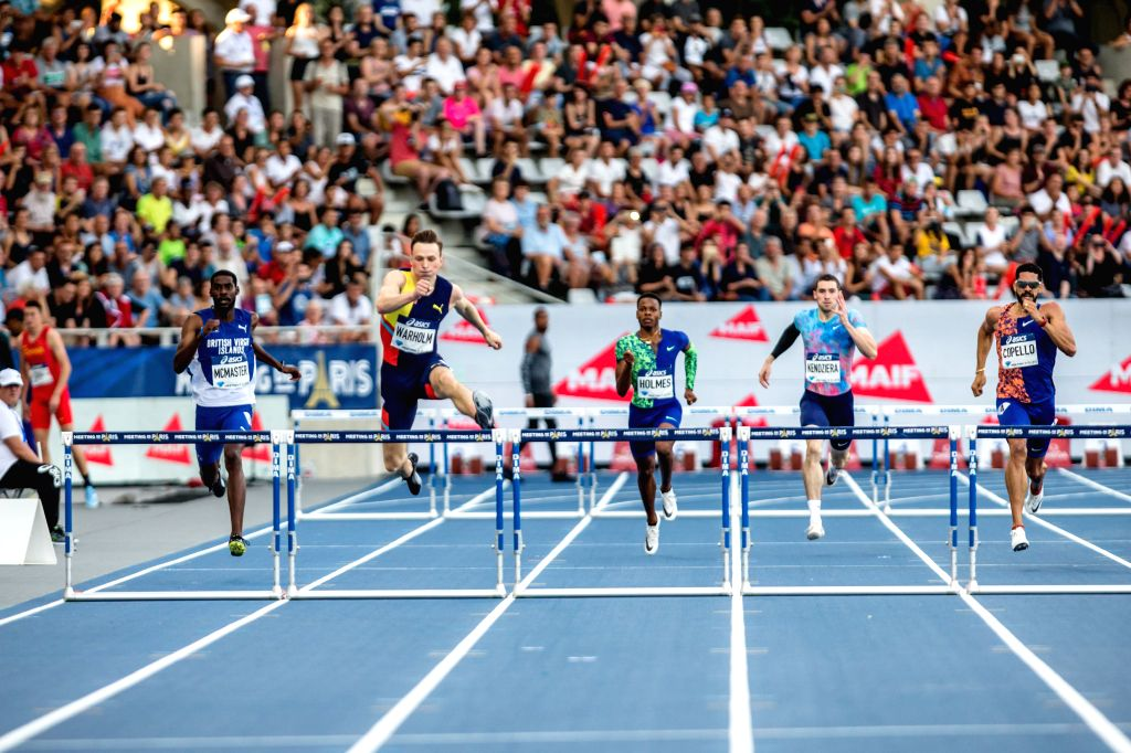 PARIS, Aug. 25, 2019 - Karsten Warholm (2nd L) of Norway competes during the men's 400m hurdles at the IAAF Diamond League in Paris, France, on Aug. 24, 2019.