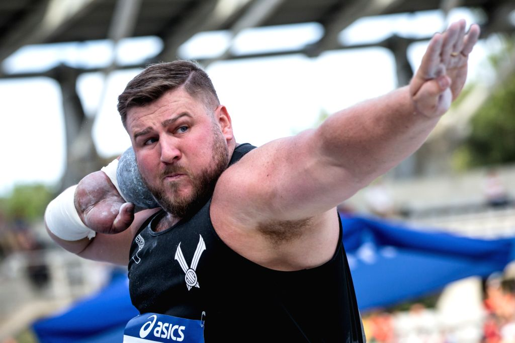 PARIS, Aug. 25, 2019 - Walsh Tomas of New Zealand competes during the men's shot put final at the IAAF Diamond League in Paris, France, on Aug. 24, 2019.