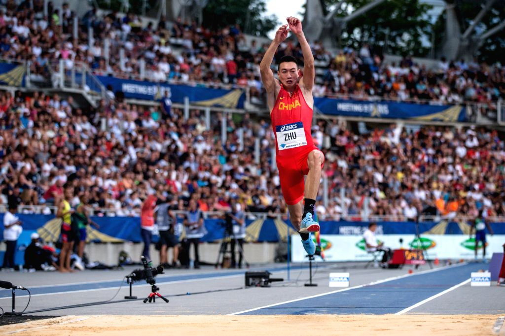 PARIS, Aug. 25, 2019 - Zhu Yaming of China competes during the men's triple jump final at the IAAF Diamond League in Paris, France, on Aug. 24, 2019.