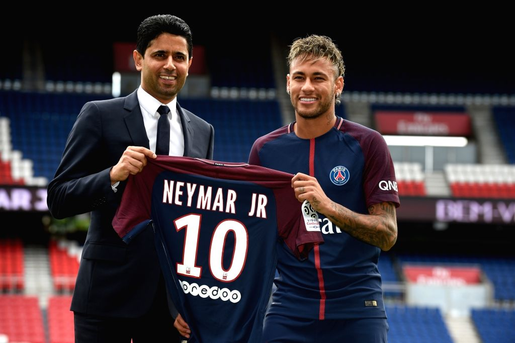 PARIS, Aug. 4, 2017 - PSG chairman Nasser Al Khelaifi (L) and Neymar are seen during a presentation in Paris, France on Aug. 4, 2017. The Club of Paris Saint Germain held a press conference and a ...