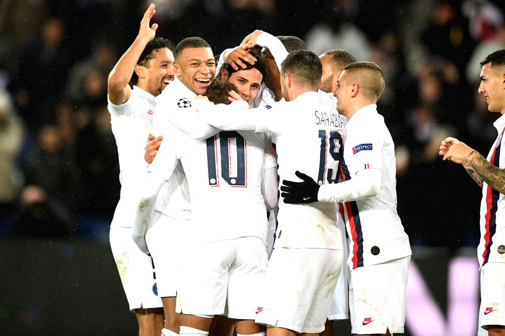 PARIS, Dec. 12, 2019 - Players of PSG celebrate their victory at the end of a Group A match of the 2019-2020 UEFA Champions League between Paris Saint-Germain (PSG) and Galatasaray in Paris, France, ...