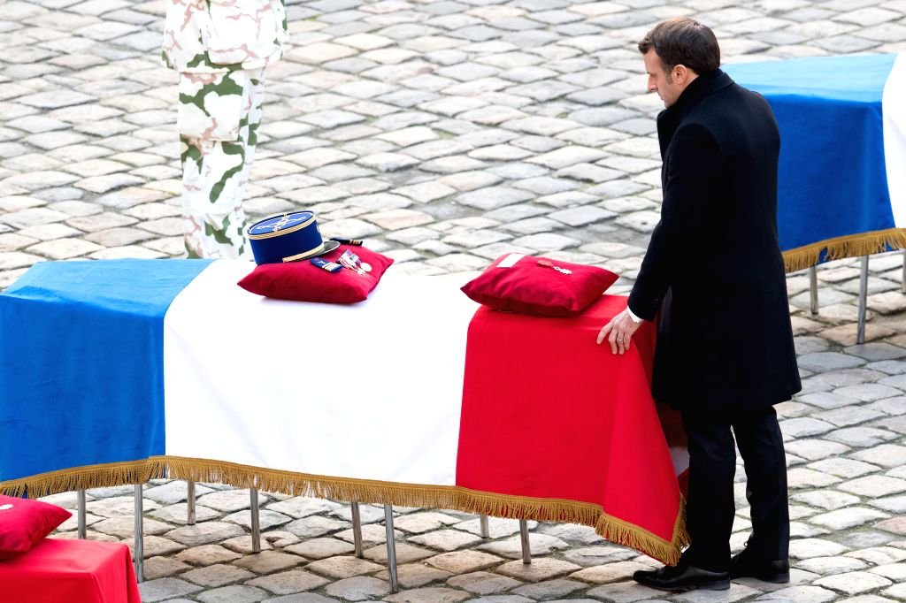 PARIS, Dec. 2, 2019 - French President Emmanuel Macron attends a tribute ceremony for the fallen servicemen at the Les Invalides in Paris, France, on Dec. 2, 2019. France held the ceremony here on ...