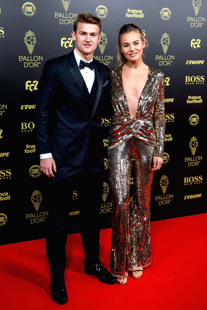 PARIS, Dec. 3, 2019 - Juventus' Dutch defender Matthijs de Ligt (L) and his girlfriend Annekee Molenaar arrive to attend the Ballon d'Or 2019 awards ceremony at the Theatre du Chatelet in Paris, ...