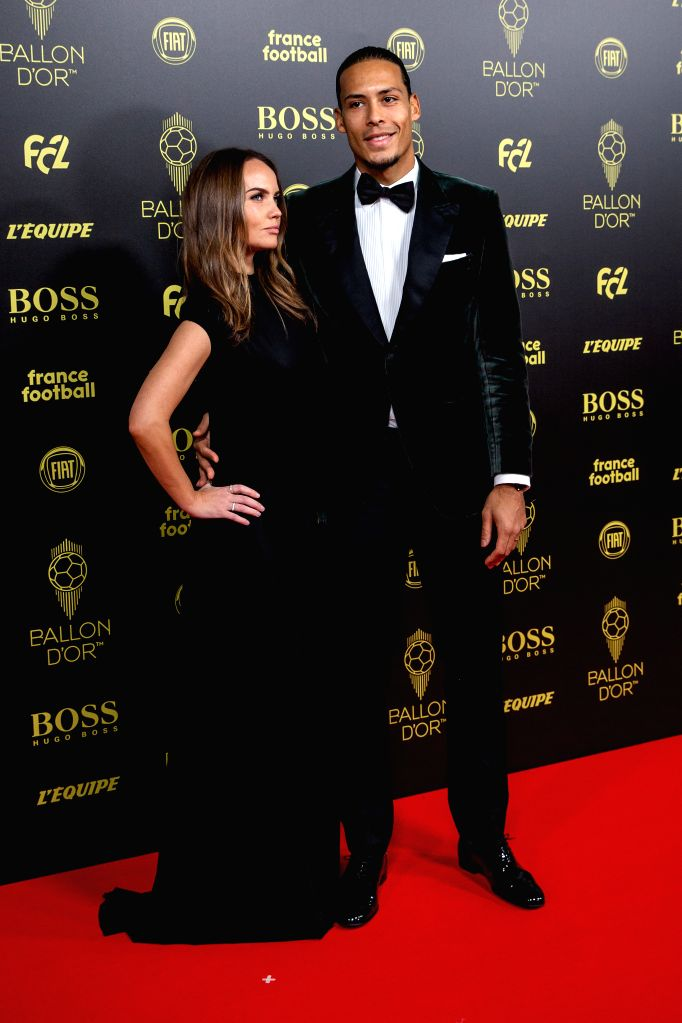 PARIS, Dec. 3, 2019 - Liverpool's Dutch defender Virgil van Dijk and his wife Rike Nooitgedagt (L) arrive to attend the Ballon d'Or 2019 awards ceremony at the Theatre du Chatelet in Paris, France, ...