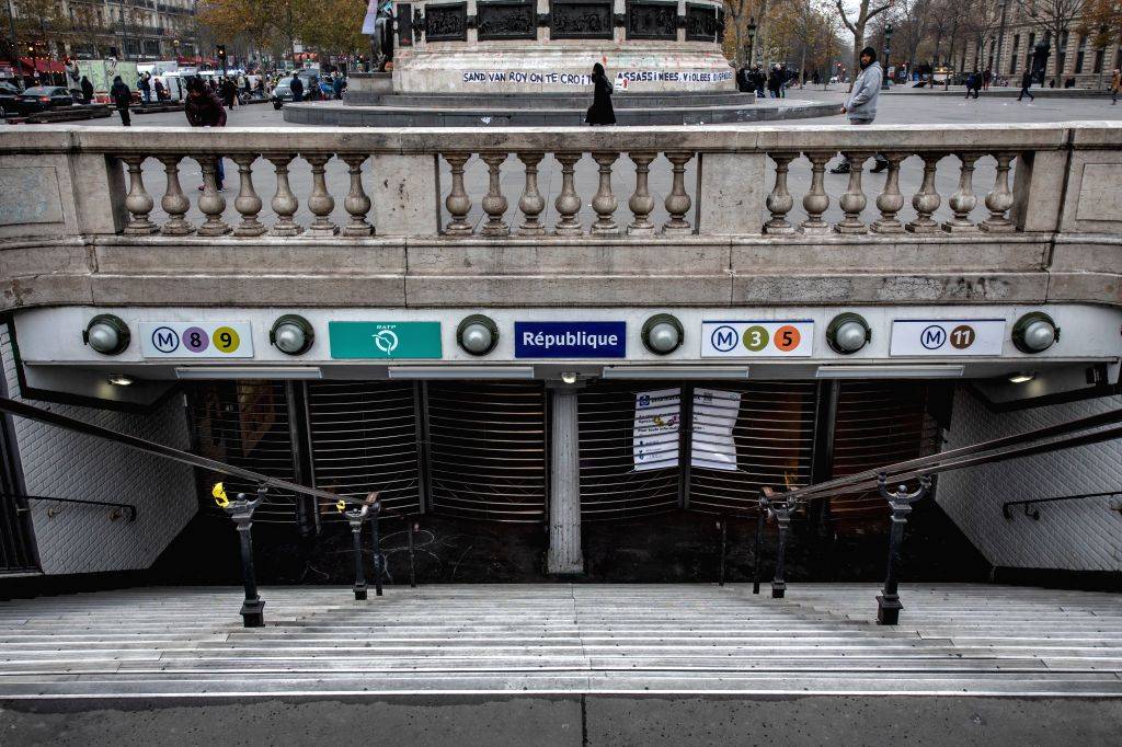 PARIS, Dec. 5, 2019 (Xinhua) -- Photo taken on Dec. 5, 2019 shows a closed metro station due to a strike in Paris, France. Train and metro stations are deserted, schools closed and many aircrafts grounded across French cities on Thursday as the count