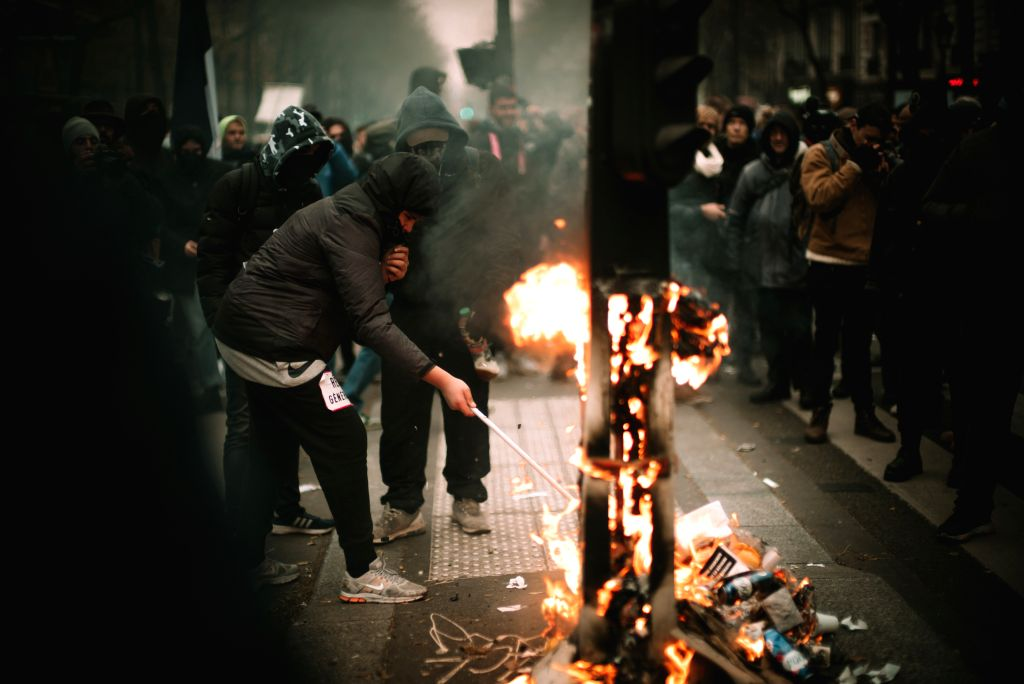 PARIS, Dec. 6, 2019 - People take part in a demonstration in Paris, France, on Dec. 5, 2019. French Prime Minister Edouard Philippe on Friday justified a plan to overhaul pension regime, which ... - Edouard Philippe