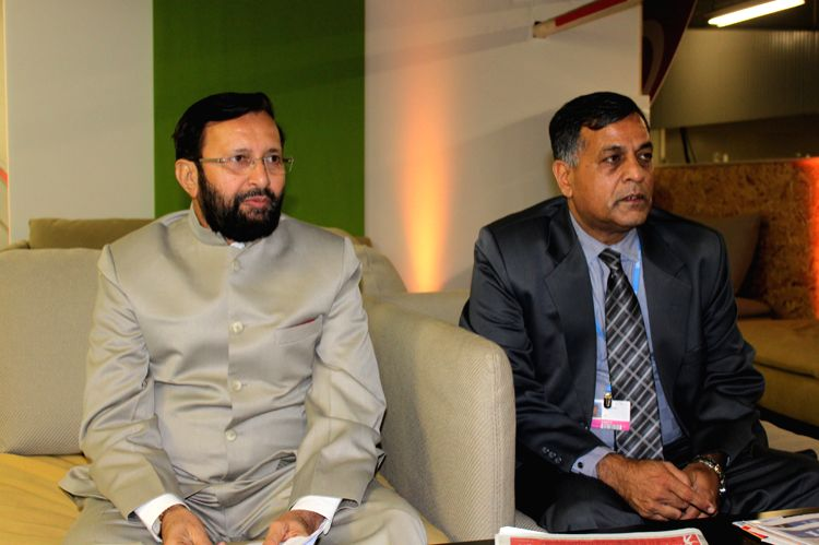 Paris (France): Union Environment Minister Prakash Javadekar and  Secretary Ministry of Environment, Forests and Climate Change, Ashok Lavasa at at the CoP21 French Presidency office in Paris, France. - Prakash Javadekar