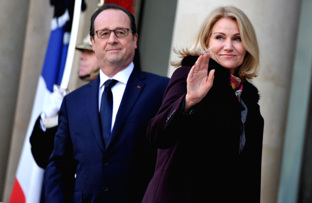 French President Francois Hollande (L) welcomes Danish Prime Minister Helle Thorning-Schmidt at the Elysee Palace in Paris, France, Jan. 11, 2015. A massive march ... - Helle Thorning-Schmidt