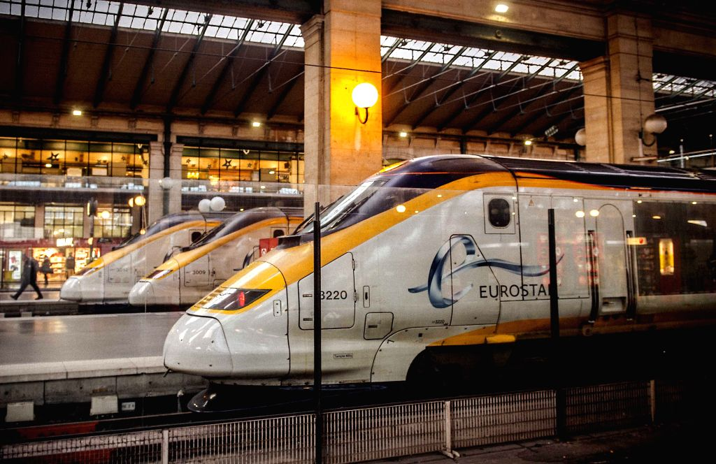 A Eurostar train parks at the Gare du Nord train station in Paris, France, Jan. 17, 2015. All services of Eurostar were suspended Saturday due to smoke detection in ..