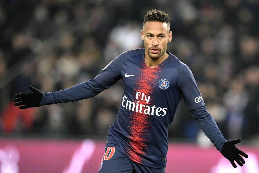PARIS, Jan. 20, 2019 (Xinhua) -- Neymar Jr of Paris Saint-Germain celebrates his goal during the match of French Ligue 1 2018-2019 season 21st round match between Paris Saint-Germain and Guingamp in Paris, France, on Jan. 19, 2019. Paris Saint-Germai
