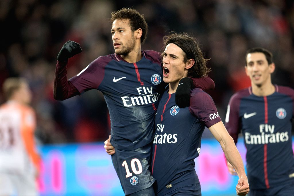 PARIS, Jan. 28, 2018 - Neymar (L) of Paris Saint-Germain celebrates scoring with his teammate Edinson Cavani(C) during the French Ligue 1 match against Montpellier in Paris, France on Jan. 27, 2018. ...