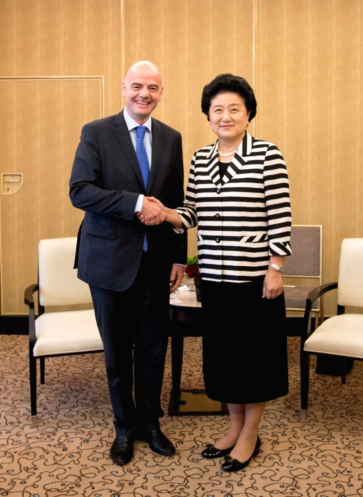 PARIS, July 1, 2016 - Chinese Vice Premier Liu Yandong(R) meets with Gianni Infantino, president of the world's football governing body FIFA in Paris, France on July 1, 2016. Visiting Chinese Vice ...