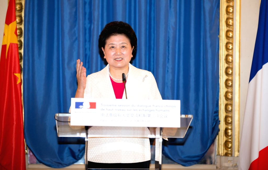 PARIS, July 1, 2016 - Visiting Chinese Vice Premier Liu Yandong speaks at the third meeting of the China-France High-level Mechanism for Dialogue on People-to-People Exchanges held in Paris, France, ...
