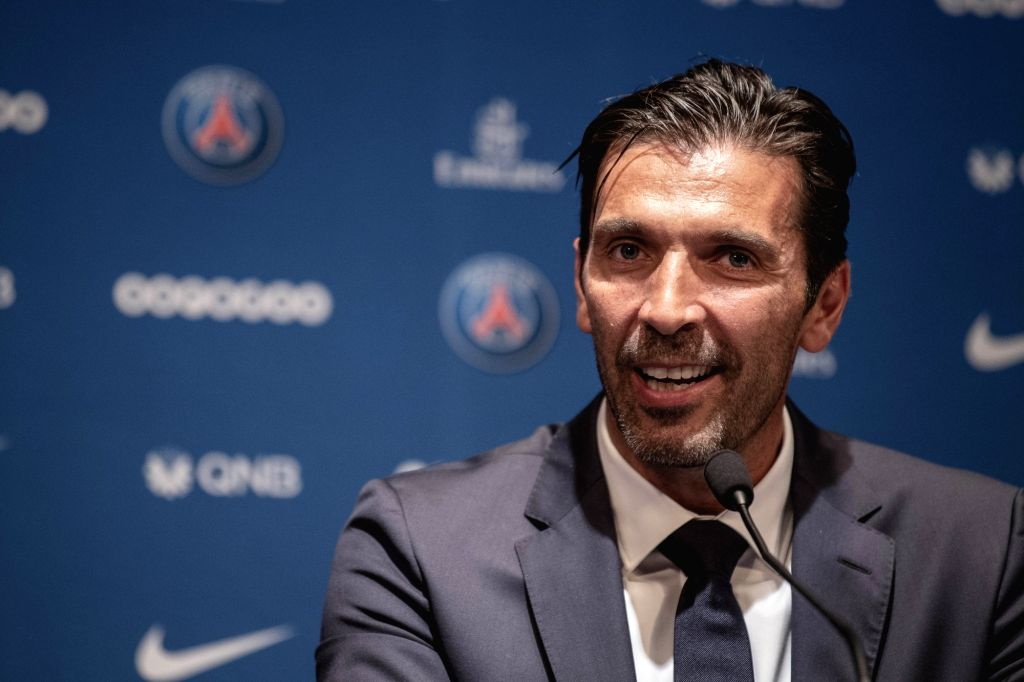 PARIS, July 10, 2018 - Gianluigi Buffon attends a press conference in Paris, France on July 9, 2018. The Club of Paris Saint Germain held a press conference and a presentation on Monday announcing ...