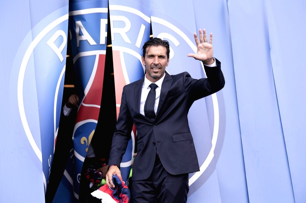PARIS, July 10, 2018 - Gianluigi Buffon is seen during a presentation in Paris, France on July 9, 2018. The Club of Paris Saint Germain held a press conference and a presentation on Monday announcing ...