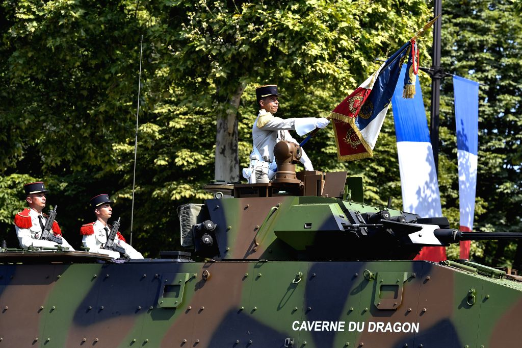 PARIS, July 14, 2018 - A military vehicle passes the Champs-Elysees Avenue during the annual Bastille Day military parade in Paris, France, on July 14, 2018.