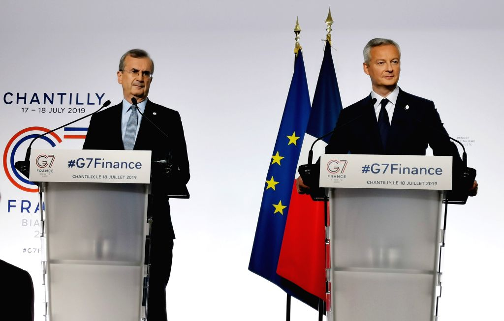 PARIS, July 18, 2019 - French Finance Minister Bruno Le Maire (R) and Governor of the Bank of France Francois Villeroy de Galhau attend a press conference at the end of the G7 Finance meeting in ... - Bruno L