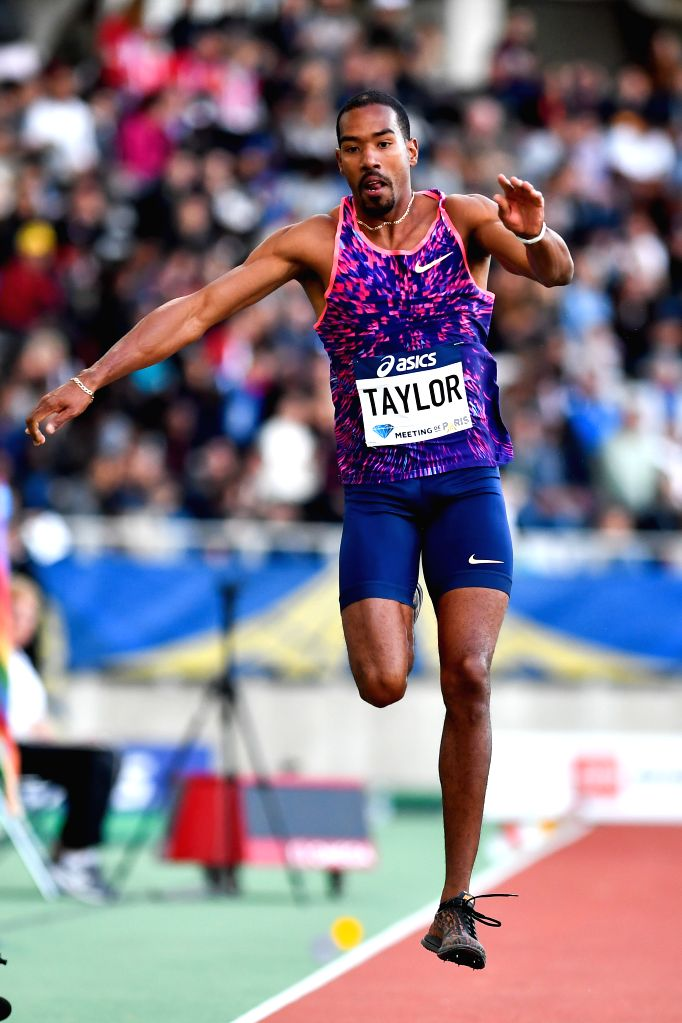 PARIS, July 2, 2017 - Christian Taylor of the United States competes during the men's triple jump final of the IAAF Diamond League athletics meeting in Paris, France on July 1, 2017. Christian Taylor ...