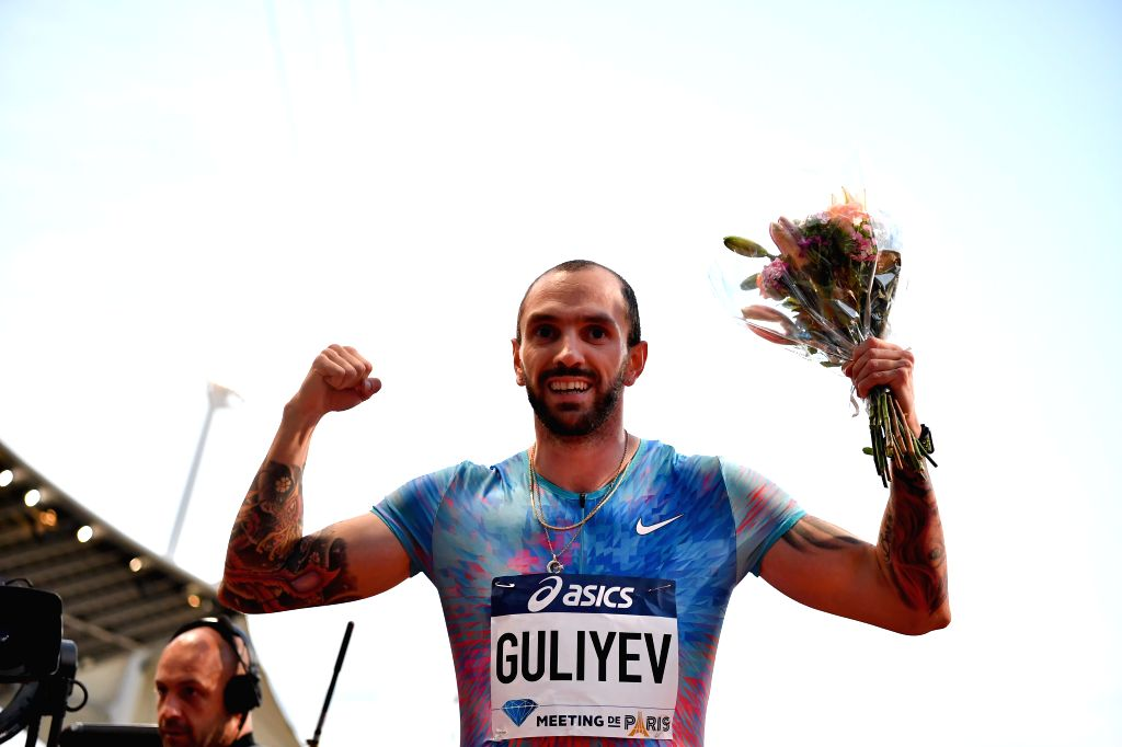 PARIS, July 2, 2017 - Ramil Guliyev of Turkey celebrates after the men's 200m final of the IAAF Diamond League athletics meeting in Paris, France on July 1, 2017. Ramil Guliyev claimed the title with ...