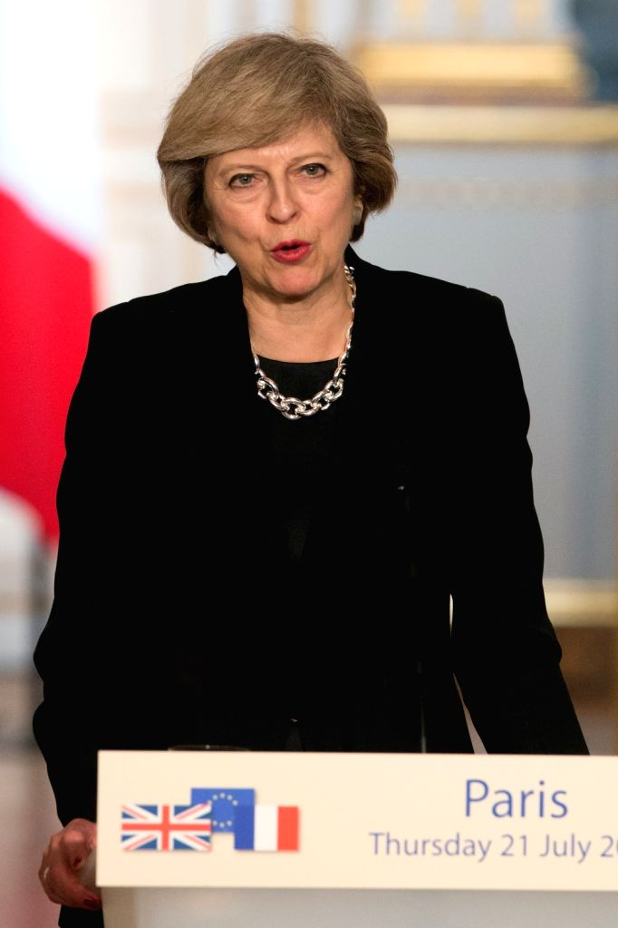 PARIS, July 21, 2016 - British Prime Minister Theresa May speaks at a press conference after meeting with French President Francois Hollande(not in the picture) at the Elysee Palace in Paris, France ... - Theresa May