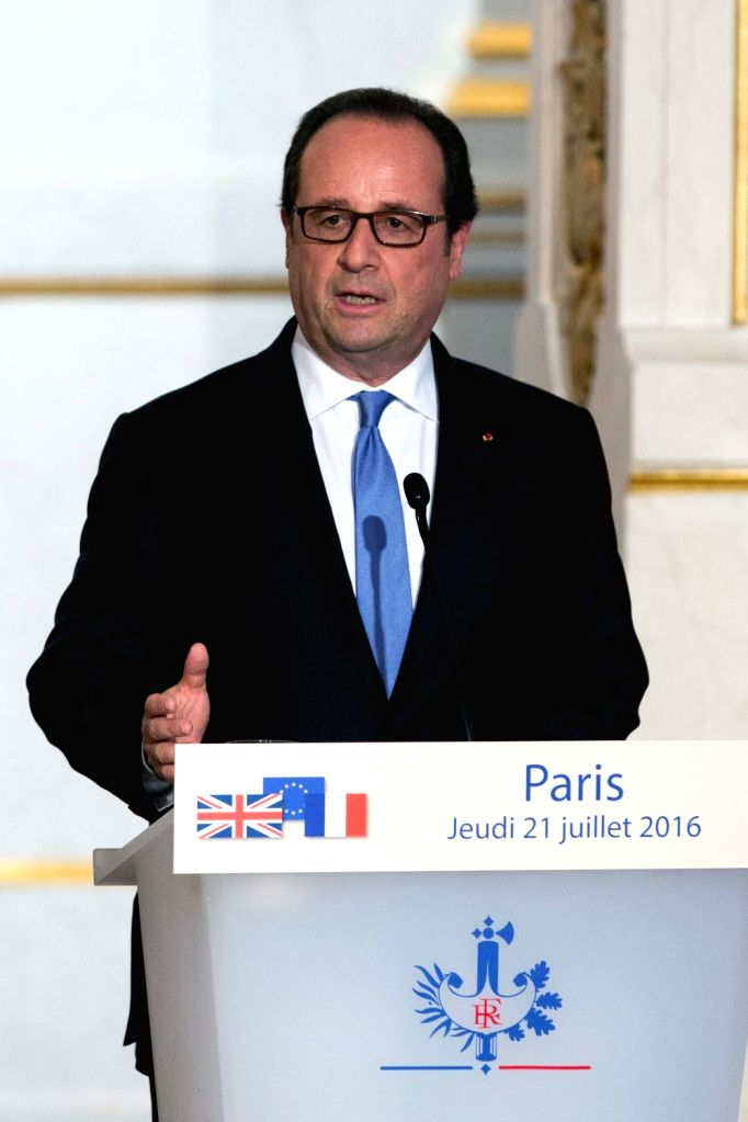 PARIS, July 21, 2016 - French President Francois Hollande speaks at a press conference after meeting with British Prime Minister Theresa May(not in the picture) at the Elysee Palace in Paris, France ... - Theresa May