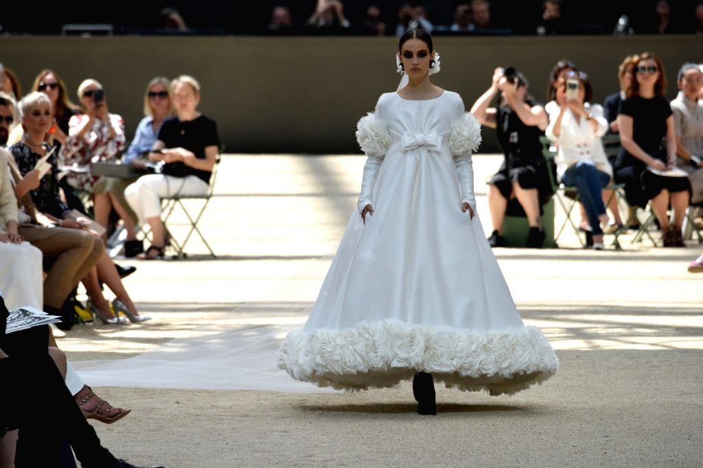 PARIS, July 4, 2017 - A model presents a creation of Chanel during the Haute Couture 2017/18 Fall/Winter collection shows in Paris, France, on July 4, 2017.