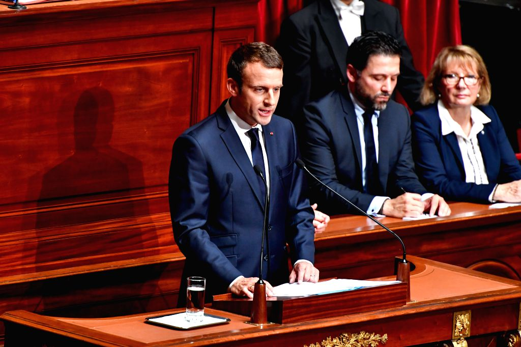 PARIS, July 4, 2017 - French President Emmanuel Macron (front) gives a speech during a session of both houses of parliament held in Paris, France, on July 3, 2017. French President Emmanuel Macron ...