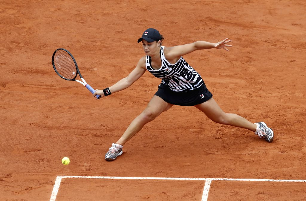 PARIS, Jun. 7, 2019 - Ashleigh Barty of Australia competes during the women's singles semifinal match with Amanda Anisimova of the United States at French Open tennis tournament 2019 at Roland ...