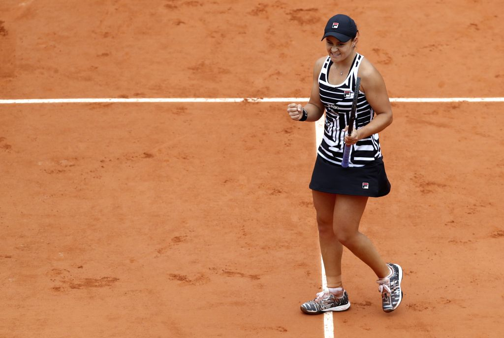 PARIS, Jun. 7, 2019 - Ashleigh Barty of Australia celebrates after winning the women's singles semifinal match with Amanda Anisimova of the United States at French Open tennis tournament 2019 at ...