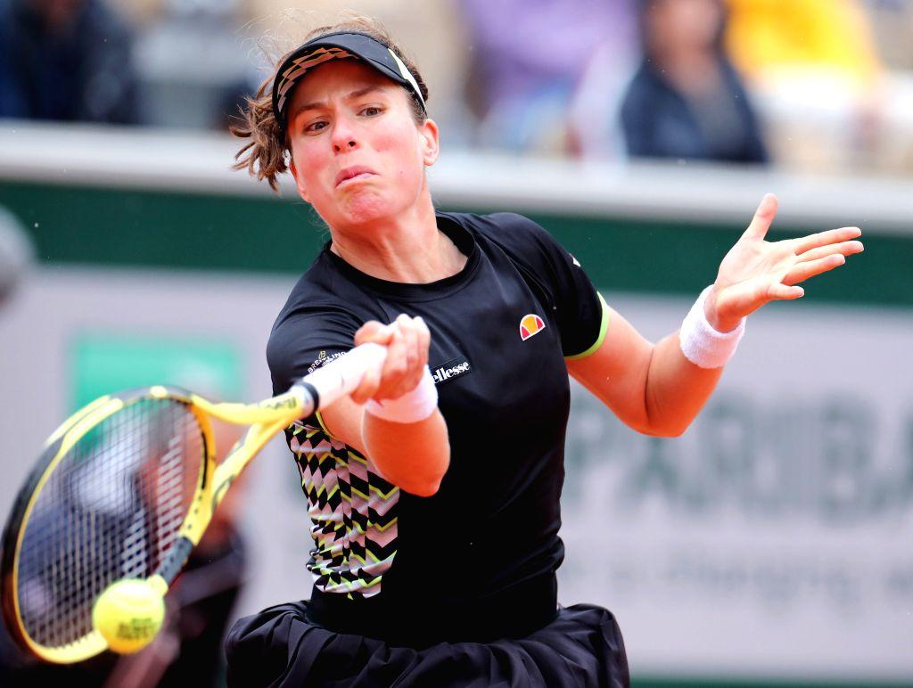 PARIS, Jun. 7, 2019 - Johanna Konta of Britain competes during the women's singles semifinal match with Marketa Vondrousova of Czech Republic at French Open tennis tournament 2019 at Roland Garros, ...