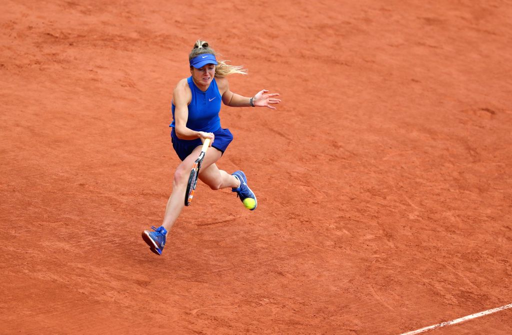 PARIS, June 1, 2016 - Elina Svitolina of Ukraine competes during the women's singles fourth round match against Serena Williams of the United States on day 11 of 2016 French Open tennis tournament at ...